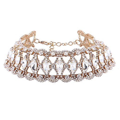 Everrich Flower Bohemian Wide Clear Rhinestone Crystal Choker Statement Necklace Charms for Women