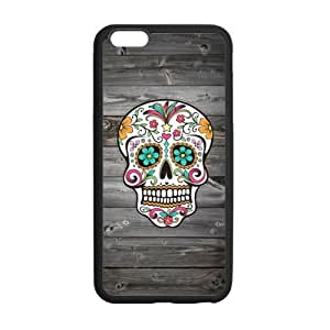 Sugar Skull Vintage Wood Pattern Pattern iPhone 6 Plus Case Covers Anti-Scratch Extreme Protection Compatible with iPhone 6 Plus 5.5inches TPU(Laser Technology)