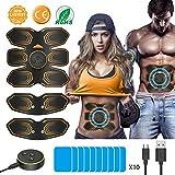 ANLAN Electroestimulador Muscular Abdominales, EMS Estimulador Muscular Abdominales para Abdomen Brazo Piernas Entrenador Muscular con USB Recargable, 6 Modos y 10 Niveles de Intensidad