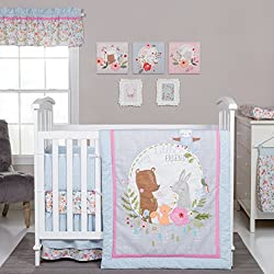 Trend Lab My Little Friends Girl's 6 Piece Crib Bedding Set, Blue/Pink/Brown/Gray