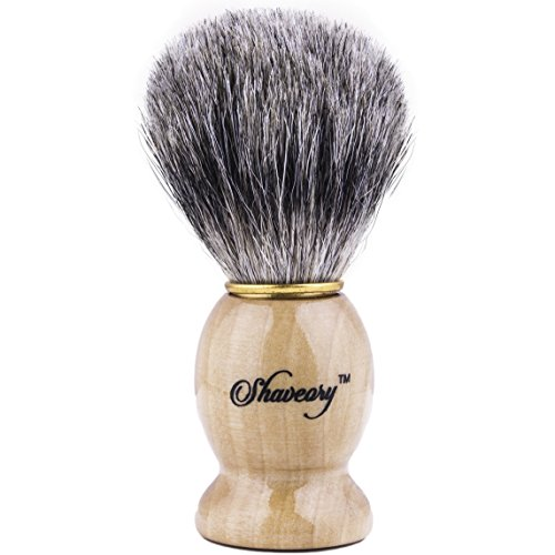 Price comparison product image Shaveory 100% Pure Badger Hair Shaving Brush With Wood Handle Perfect for Wet Shaving