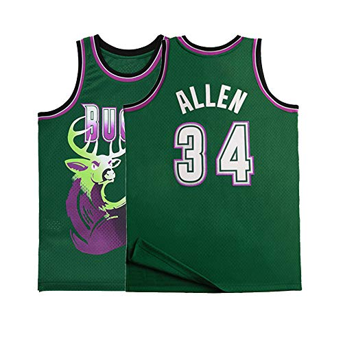Mens Allen Jersey 34 Basketball Adult Milwaukee Jesus Ray Sizes Green (Large)