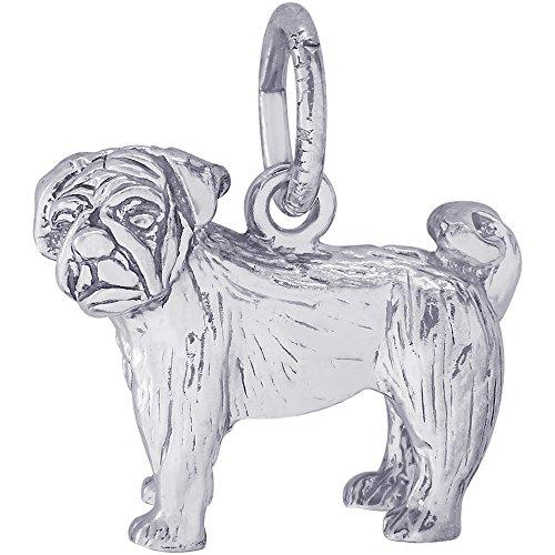 Gold Pug Dog Charm (Rembrandt Charms 14K White Gold Pug Dog Charm (0.51 x 0.58 inches))