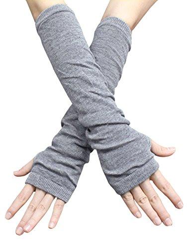 SourcingMap Korea New Fashion Fingerless Arm Cover For Unisex Light Gray