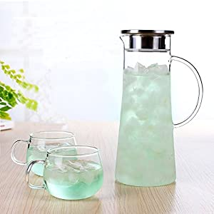 Lautechco 1.5L Transparent Heat-resistant Glass Beverage Pitcher Watter Bottle Coffee Pot Water Jug Tableware