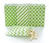 popcorn bags green - Green Bulk Paper Party Bags / Wedding Favor Goodie Bags (100 Pack) - Green Stripe, Chevron, Spanish Tile & Polka Dot Loot Bags