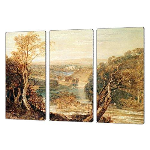 Art Wall William espátula's The River Wharfe - Juego de 3 Impresiones de Aluminio con Vista de la Torre Barden Artmetalz,...