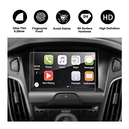 RUIYA 2015-2017 Ford Focus RS ST, Compact Cars 8-Inch In-Dash Screen Protector, HD Clear Tempered Glass SYNC2 SYNC3 Car Navigation Screen Protective Film