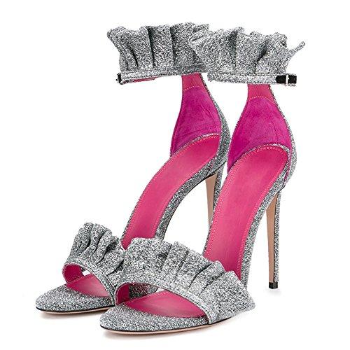 Sangle Ouvert Chaussures Femmes Bout De Soirée Talon Plissés Mignon Des Cheville D'été Robe De Paillettes Volants Aiguille À Sandales r4zqwrAZ