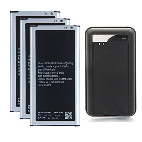 Galaxy S5 Battery : REDGO Strength Replacement 2800mAh Li-Ion Battery for Samsung Galaxy S5, 3X Batteries + (External Li Ion Battery)