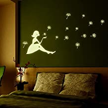 "2 Sheets Glow in the Dark Wall Decal Stars/Moon Luminous Stickers for Kids'/Baby's Bedroom Decor DIY Art Decals (Y0031Dandelion Girl(8.3""X11.7""))"
