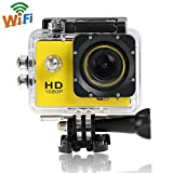 Wifi 12 MP 1080P HD Sports DV 170 degree Wide Angle Car Recorder Diving Camera (WIFI--Yellow)