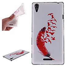 Sony T3 Case, Showing Totem Series Flexible Soft TPU Cover Protective Case For 5.3 inches Sony Xperia T3 (Flying Red Feather)
