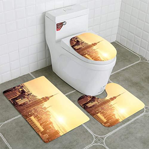 BEISISS Bathroom Mat Sets 4 Piece-Non-Slip - Short Plush New York Skyline to Midtown and Lower Manhattan Bathroom Rug + Contour pad + lid Toilet seat+Toilet seat Cushion