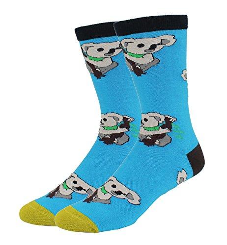 Men's Novelty Funny Cute Koala Crew Socks Crazy Animal Cotton Dress Socks in Blue]()
