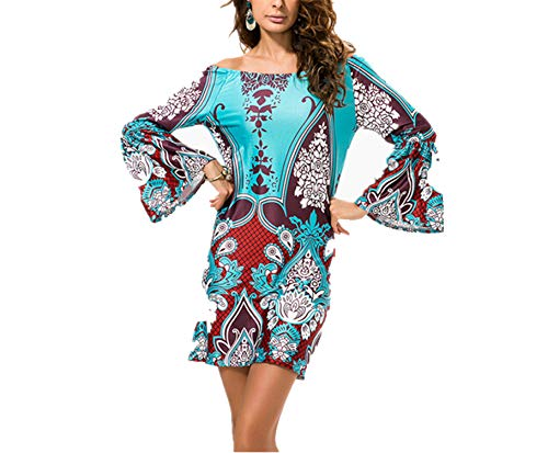Cyose Fashion Women's Summer Bohemian Dress Sundress Ethnic Floral Print Tunic Beach Dresses Coffee Green 3 M (Lord Taylor)