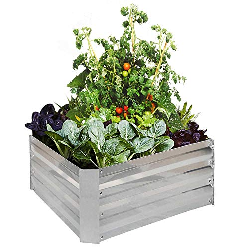 - FOYUEE Raised Garden Bed Metal Planter Box Kit Elevated Outdoor Patio Frame for Vegetables 3' x 3' x 1', Grey