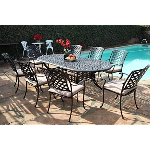 Kawaii Collection Outdoor Cast Aluminum Patio Furniture 9 Piece Dining Set  MLV4284T CBM1290