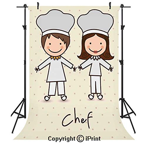 Kitchen Decor Photography Backdrops,Chef Hat and Uniform Kitchware Vintage Style Design Home and Cafe Polkadots Kids,Birthday Party Seamless Photo Studio Booth Background Banner 5x7ft,Pastel Blue Crea