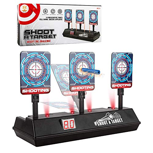 (2019 Updated Edition) Electric Digital Target for Nerf Guns,Scoring Auto Reset Nerf Target for Shooting with Wonderful Light Sound Effect for Nerf Guns Blaster N-Strike Elite/Mega/Rival Series