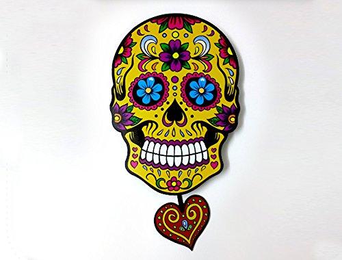 Big Yellow Sugar Skull - Day of the Dead -Dia de Los Muertos - Calavera - Pendulum Wall Clock - Wall (Hello Kitty Dia De Los Muertos)