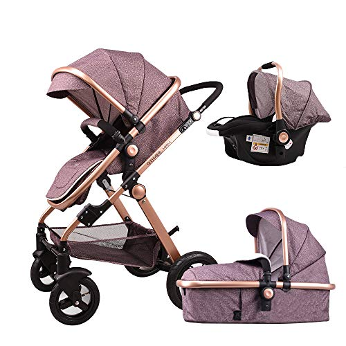 Baby Stroller,Babyfond-T900 Luxury Folding Baby Carriage with Separate Carrycot,Car Seat Bassinet,Joggers Pram for Newborn ()