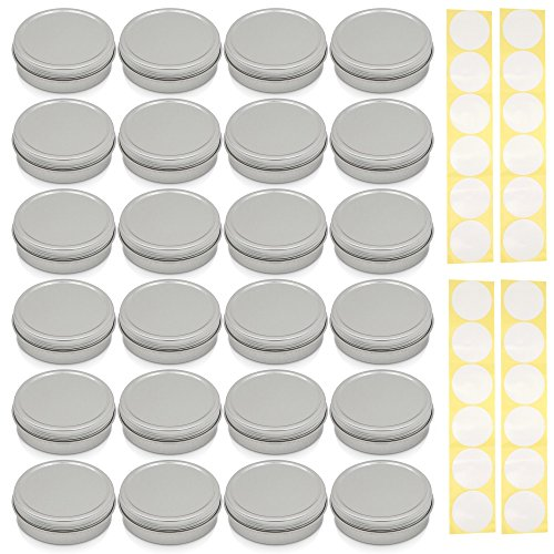 [24 Pack] Screw Top Round Steel Tin Cans 2 oz (60 ml) by SimbaLux with Self Adhesive White Round Stickers ()