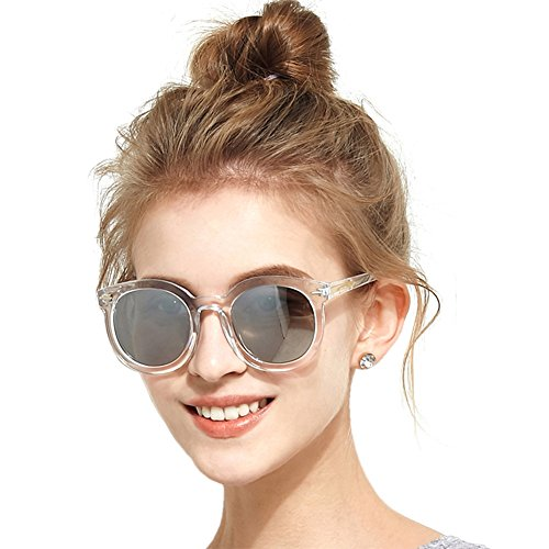 BLUEKIKI YEUX Women Polarized Sunglasses Vintage Oversized Round Mirror(Silver, 61) Oversized Womens Plastic Sunglasses