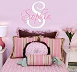 Girls Nursery Personalized Custom Name Wall Decals, Baby Wall Stickers for Girls, 23'' W by 20'' H, Girl Name Wall Decal, Wall Decor, Girls Nursery Wall Decals, Girls Bedroom, PLUS FREE HELLO DOOR DECAL