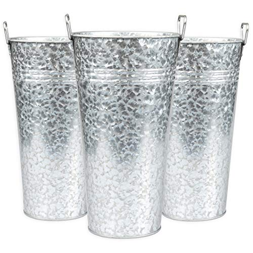 Ilyapa Galvanized Metal Vase 3 Pack – 13 Inch Tall Rustic Farmhouse Bucket Planter Pots for Decor