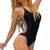 Hot Sale!!Woaills One-Piece Bathing Swimwear,Women Push-up Padded Backless Bandage Bikini Swimsuit (S, Black)