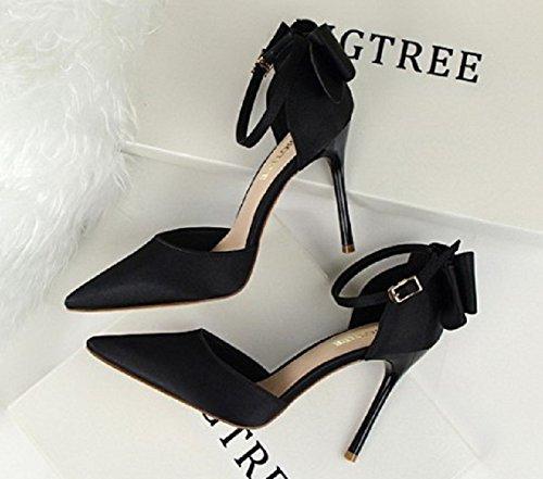 BIGTREE Inception Pro Infinite ® - Zapato de Escote Para Mujer EN Color Negro con Tacón Alto y Lazo Trasero - LWH-058
