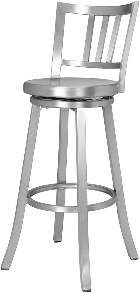 Renovoo Aluminum Swivel Bar Stool, Commercial Quality, Fully Assembled, Brushed Aluminum Finish, 30 Inch Seat Height, Indoor Outdoor Use, 1 Pack
