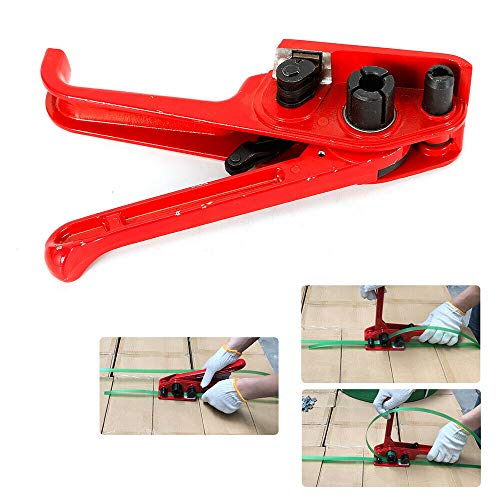 - Strapping Tool, Heavy Duty Belt Tensioner and Cutter Manual Banding Tool Windlass for Plastic Strip and Cord Strapping 3/8'' - 3/4'' - Red (US Shipping)