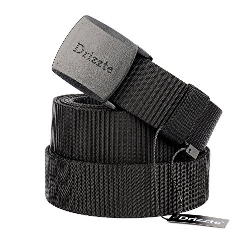 Drizzte 63'' Plus Size Long Men's Military Duty Web Nylon Belt Plastic Buckle Black -