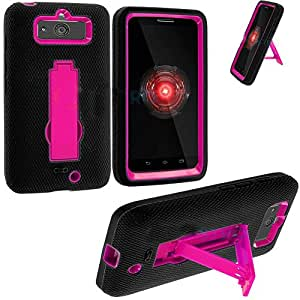 myLife Black + Pink Commuter Series (Built In Kickstand) Survival Case for Motorola Droid Mini XT1030 Smartphone (Shockproof External Silicon Gel + 2 Piece Internal Rubberized Hard Case + Gripable Texture)