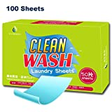 Tonelife 100 Count Laundry Detergent Sheets, More Efficient and Convenient than Liquid, Pods, or Pacs - Travel & Eco Friendly - Portable Individual Packages - 100 loads