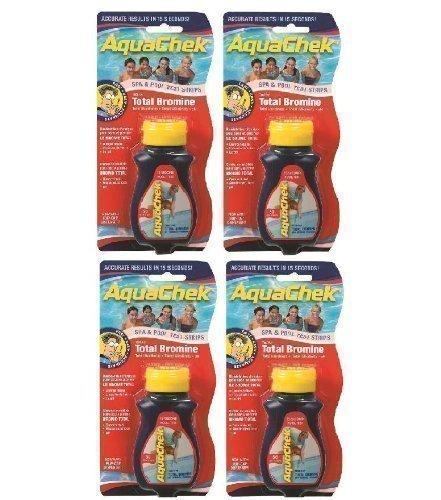 Happy Hot Tubs 4 Pack Red Bromine Aquachek Pool & Spa Test Strips Total Alkalinity PH Hardness Quick Dip Stick Sticks TA + - Strip Aquacheck Aqauchek Aquacheck Swimming Water Treatment