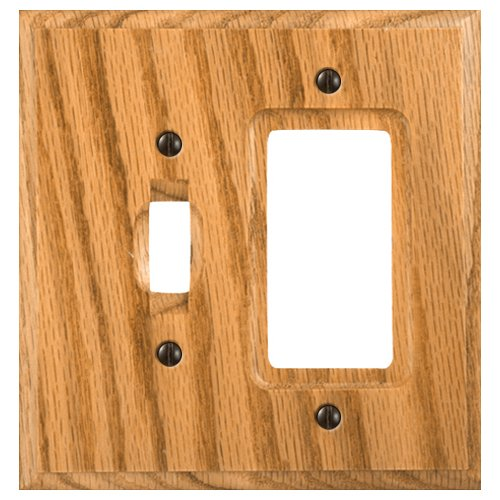 Amerelle Traditional Single Toggle/Single Rocker Wood Wallplate in Light Oak