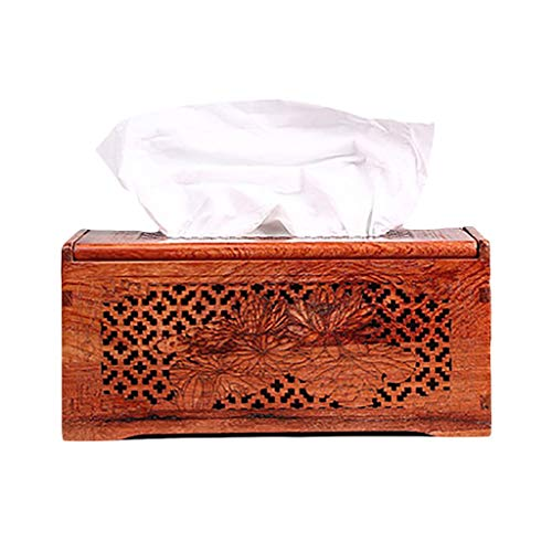 Burmese Rosewood Tray Paper Table Solid Wood Tissue Box Mahogany Coffee Table Large Fruit Rosewood Napkin Box Storage Box GAOLIANGLIANG (Size : B)