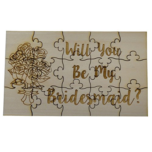 Will You Be My Bridesmaid, 15 Piece Basswood Jigsaw Puzzle - Wedding Bridal Party Bouquet Bride Gift by FashionJunkie4Life