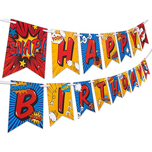 Superhero Birthday Party Supplies Banner by Aliza | Baby Boy Toddler Kids Birthday Super Hero Decorations - Huge 8-Foot Superhero Garland Decor - The Perfect Decoration for Your Party