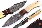 Mason Sharp Edge Handmade Boot Skinner Bone Handle Damascus Steel Fixed Blade Hunting Knife W/Case Prime Quality 9''