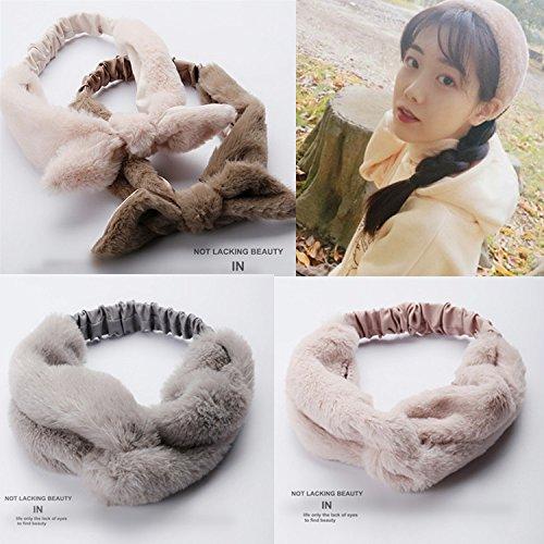 Korean sweet hair band Leather grass headdress hair band temperament warm Sen female line wash hair bands broadside female for women girl lady ()