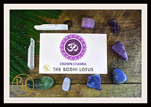 CROWN CHAKRA Gemstone 9 Kit Healing Crown Chakra Crystal Crown Chakra Crystal Set Intention Stones Lithiotherapy Crown Chakra Stones - Lace Meaning Agate Blue