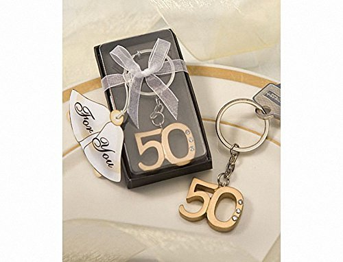 50th Anniversary key ring favors, 36 by FavorWarehouse