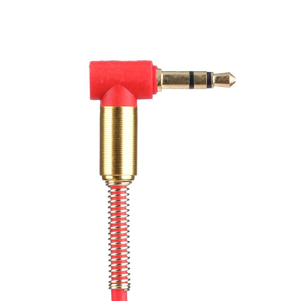 3.3ft Audiokabel Stecker auf Stecker 90 Grad rechtwinklig Aux Kabel mit Feder Schutzabdeckung Rot Broadroot 3,5 mm Klinke Stereo 1m