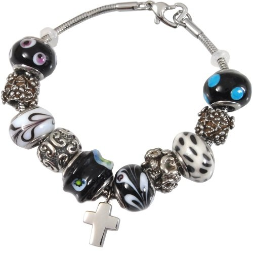Memorial Gallery Classic Black & White Remembrance Bead Pet Cross Urn Charm Bracelet, 8'' by Memorial Gallery