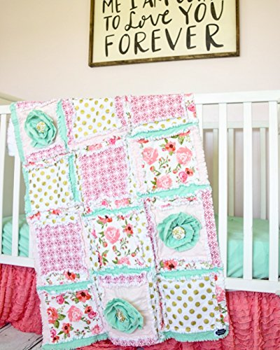 Floral Baby Girl Crib Set - Coral / Mint / Gold by A Vision to Remember