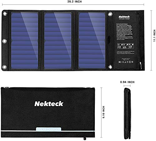 Nekteck 21W Solar Charger(5V/3A Max) with 2 USB Port, IPX4 Waterproof Portable and Foldable Hiking Camping Gear SunPower USB Solar Panel Compatible with iPhone, iPad, Samsung Galaxy, Tablets and More